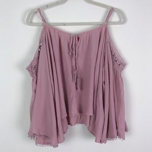 Chelsea & Violet Lace Cold Shoulder Blouse Size S